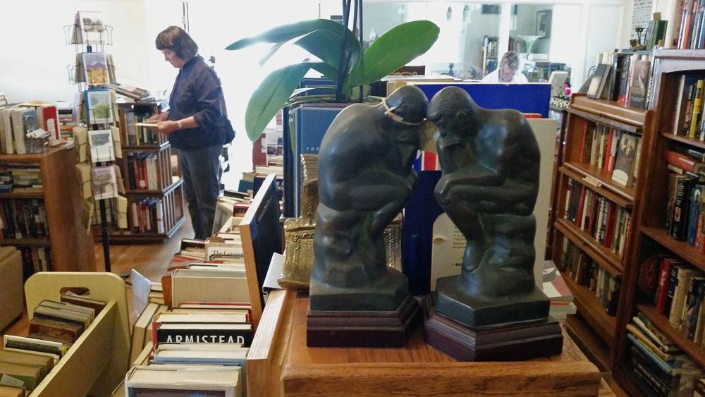with vintage bookends throughout